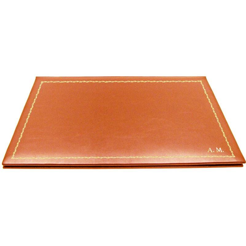 Pumpkin leather desk pad, orange calf leather - Conti Borbone - customizable opening pad - decoration 90 - block letters