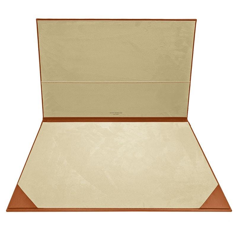Pumpkin leather desk pad, orange calf leather - Conti Borbone - customizable opening pad - brand