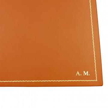 Sottomano doppio pelle Zucca, pelle di vitello arancione - Conti Borbone - personalizzato - decorazione 90 - stampatello