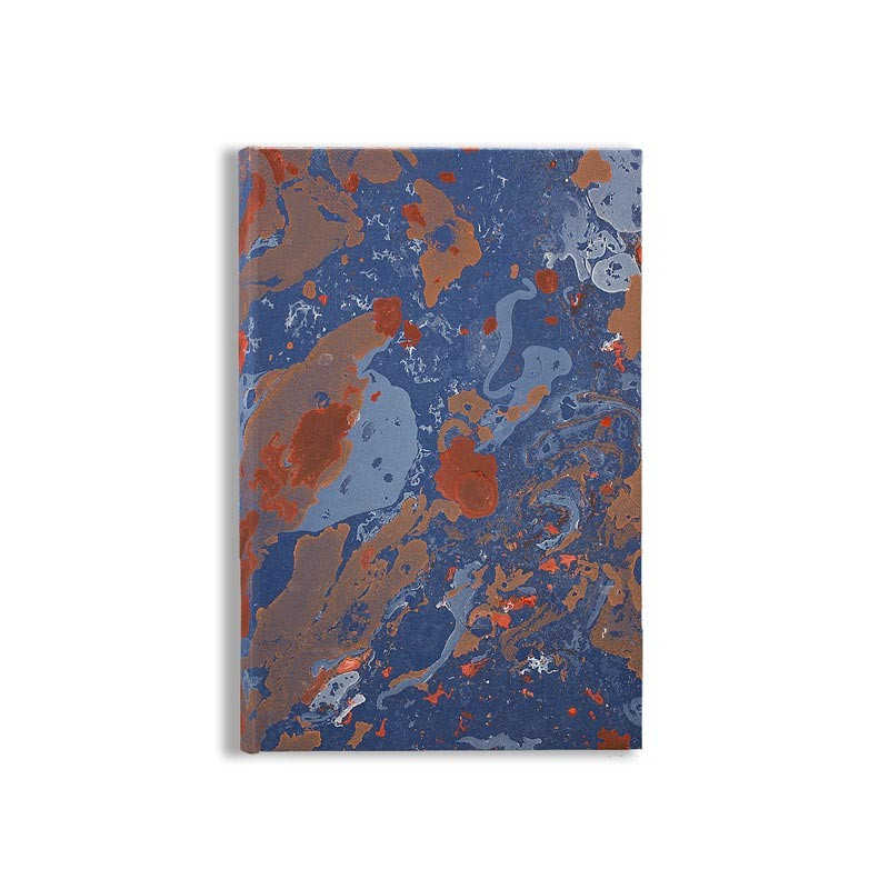 Marbled paper notebook blue, white, coral, orange Serena - Conti Borbone - Made in Italy front