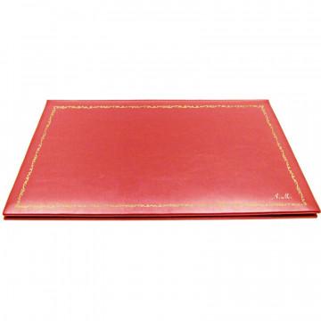 Sottomano doppio pelle Corallo, pelle di vitello rosa - Conti Borbone - personalizzato - decorazione 150 - corsivo