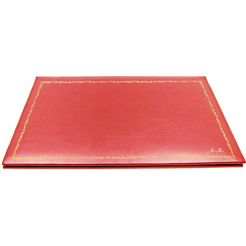 Coral leather desk pad, pink calf leather - Conti Borbone - customizable opening pad - decoration 150 - italic