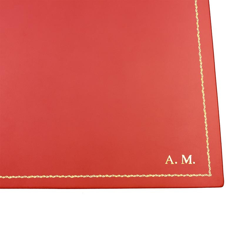 Coral leather desk pad, pink calf leather - Conti Borbone - customizable opening pad - decoration 90 - block letters