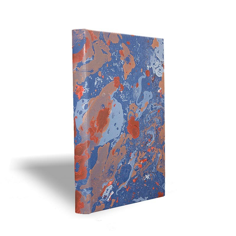 Marbled paper notebook blue, white, coral, orange Serena - Conti Borbone - Made in Italy prospective