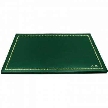Pino leather desk pad, green calf leather - Conti Borbone - customizable opening pad - decoration 90 - block letters