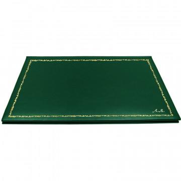 Pino leather desk pad, green calf leather - Conti Borbone - customizable opening pad - decoration 150 - italic