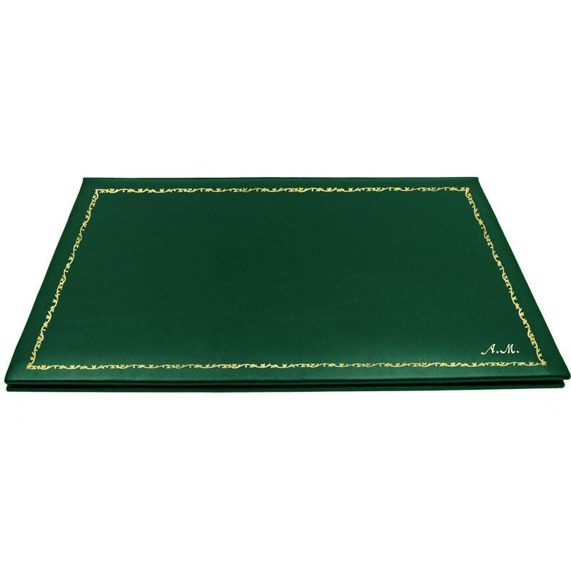 Sottomano doppio pelle Pino, pelle di vitello verde - Conti Borbone - personalizzato - decorazione 150 - corsivo