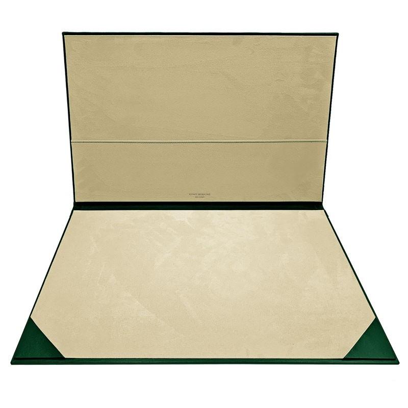Pino leather desk pad, green calf leather - Conti Borbone - customizable opening pad - brand