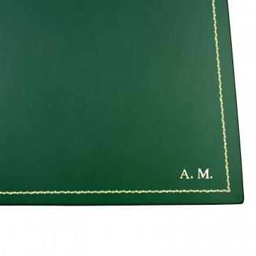 Sottomano doppio pelle Pino, pelle di vitello verde - Conti Borbone - personalizzato - decorazione 90 - stampatello