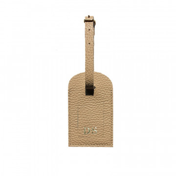 Sand leather luggage tag - beige cowhide - Conti Borbone - block letters
