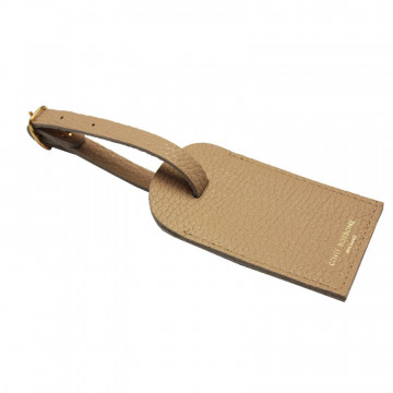 Sand leather luggage tag - beige cowhide - Conti Borbone - brand