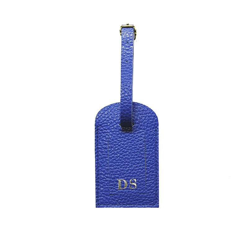 Royal leather luggage tag - blue cowhide - Conti Borbone - block letters