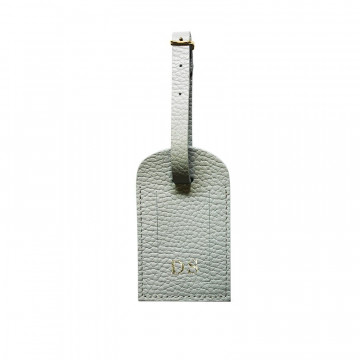 Perl leather luggage tag - gray cowhide - Conti Borbone - block letters