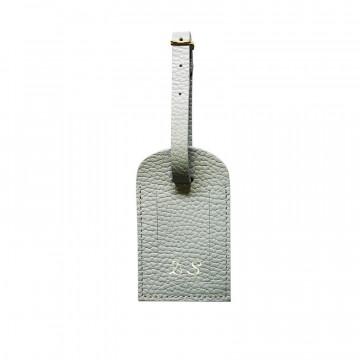 Etichetta bagagli pelle Perla, pelle bovina colore grigio - Conti Borbone - corsivo