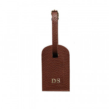 Tabacco leather luggage tag - brown cowhide - Conti Borbone - block letters