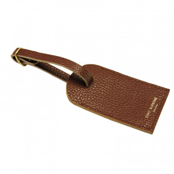 Tabacco leather luggage tag - brown cowhide - Conti Borbone - brand