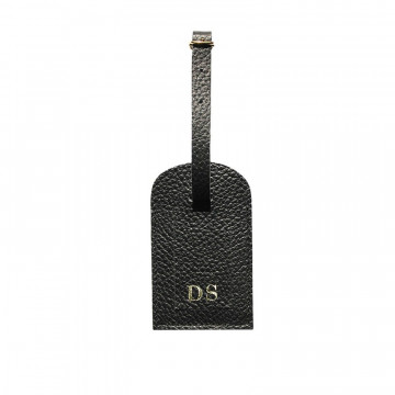 Raven leather luggage tag - black cowhide - Conti Borbone - block letters
