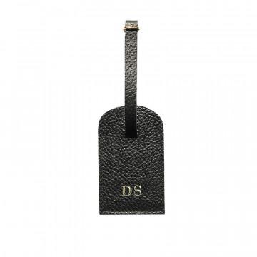 Etichetta bagagli pelle Corvino, pelle bovina colore nero - Conti Borbone - stampatello