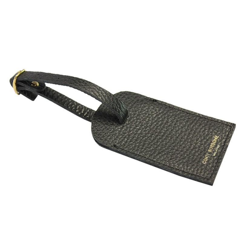 Raven leather luggage tag - black cowhide - Conti Borbone - brand