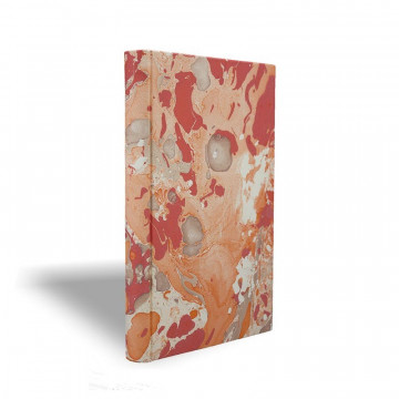 Marbled paper notebook  white, coral, orange Filomena - Conti Borbone - Made in Italy prospective