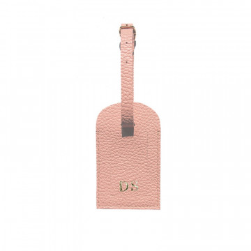 Mauve leather luggage tag - pink cowhide - Conti Borbone - block letters