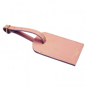 Mauve leather luggage tag - pink cowhide - Conti Borbone - brand