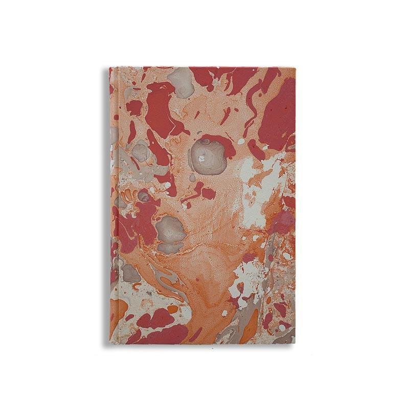 Marbled paper notebook  white, coral, orange Filomena - Conti Borbone - Made in Italy