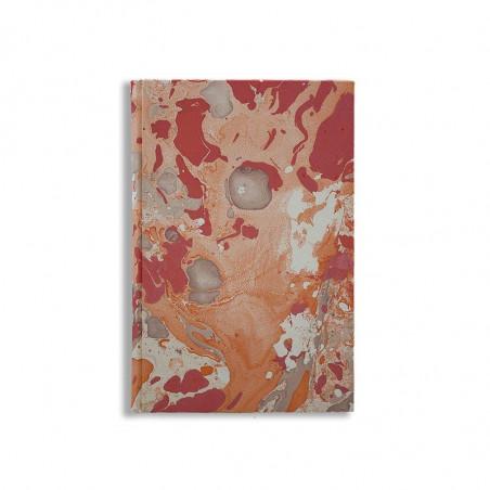 Quaderno in carta marmorizzata a mano arancione bianco corallo Filomena - Conti Borbone - made in Italy