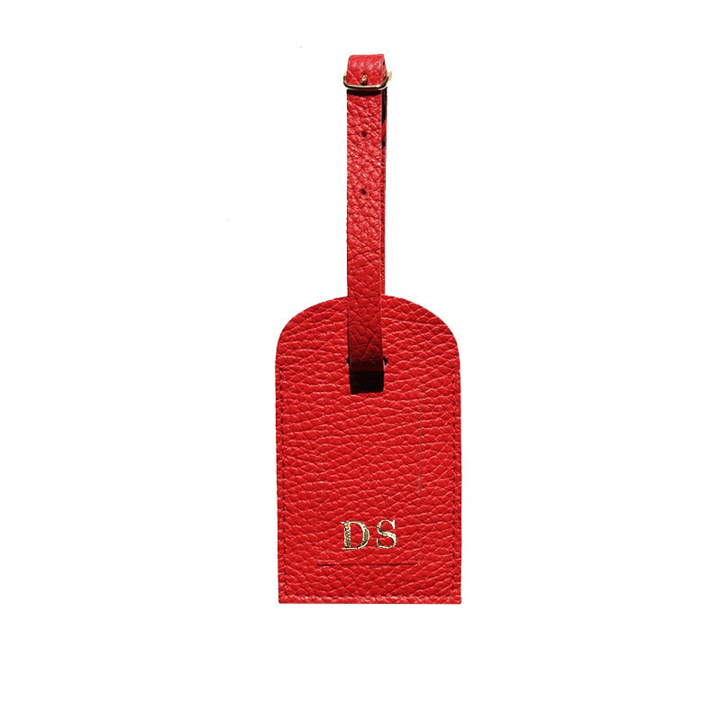 Crimson leather luggage tag - red cowhide - Conti Borbone - block letters