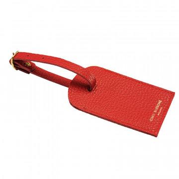 Crimson leather luggage tag - red cowhide - Conti Borbone - brand