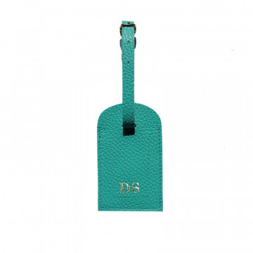 Emerald leather luggage tag - green cowhide - Conti Borbone - block letters