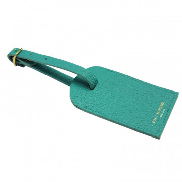 Emerald leather luggage tag - green cowhide - Conti Borbone - brand