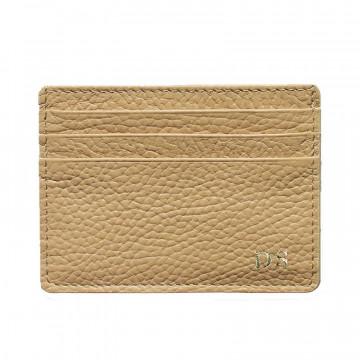 Porta carte pelle Sabbia, porta carte di credito in pelle bovina colore beige - Conti Borbone - stampatello
