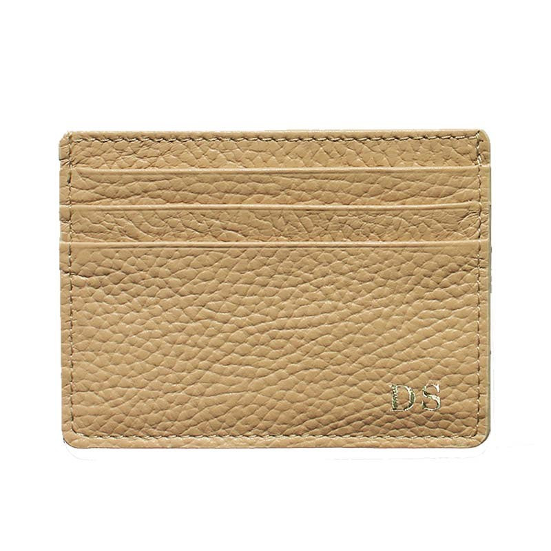 Sand leather card holder - beige cowhide card cases - Conti Borbone - block letters