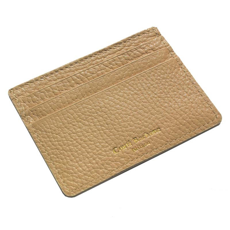 Sand leather card holder - beige cowhide card cases - Conti Borbone - brand