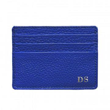 Porta carte pelle Royal, porta carte di credito in pelle bovina colore blu - Conti Borbone - stampatello