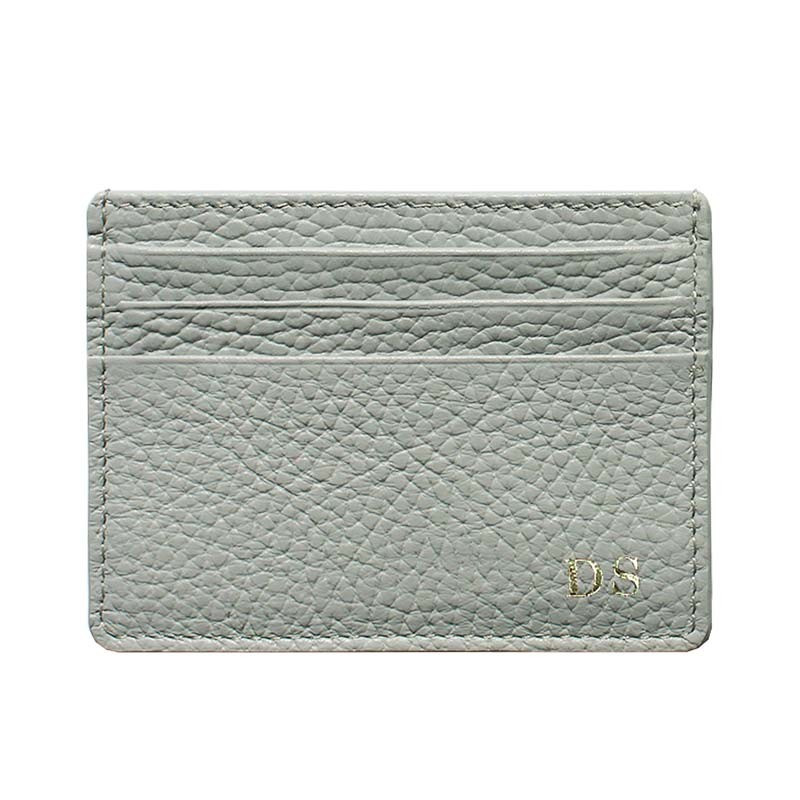 Perl leather card holder - gray cowhide card cases - Conti Borbone - block letters