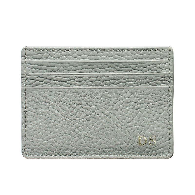 Porta carte pelle Perla, porta carte di credito in pelle bovina colore grigio - Conti Borbone - stampatello