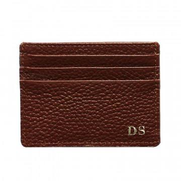 Porta carte pelle Tabacco, porta carte di credito in pelle bovina colore marrone - Conti Borbone - stampatello