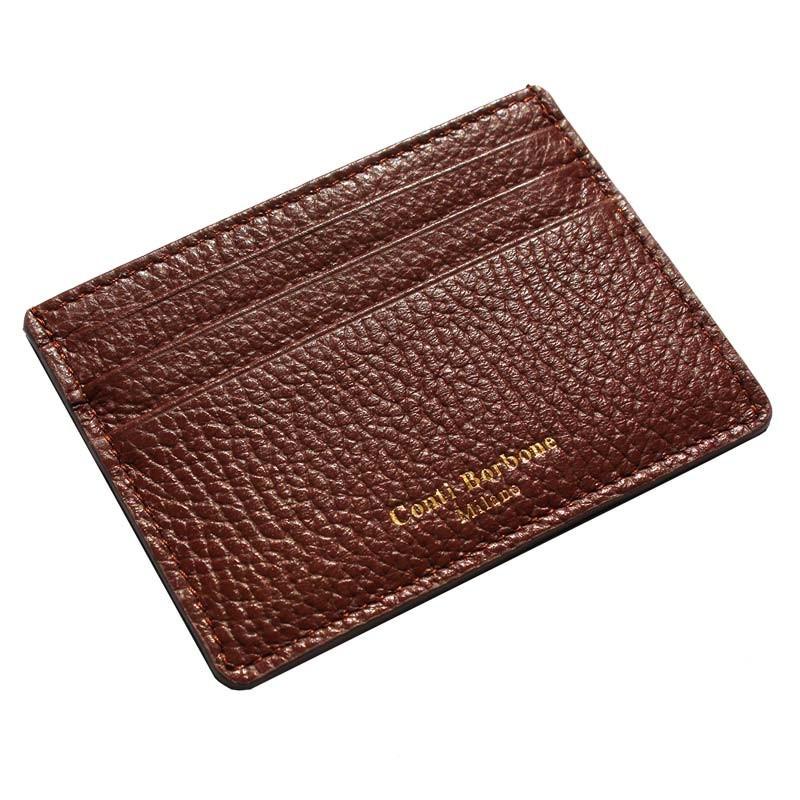 Porta carte pelle Tabacco, porta carte di credito in pelle bovina colore marrone - Conti Borbone - brand