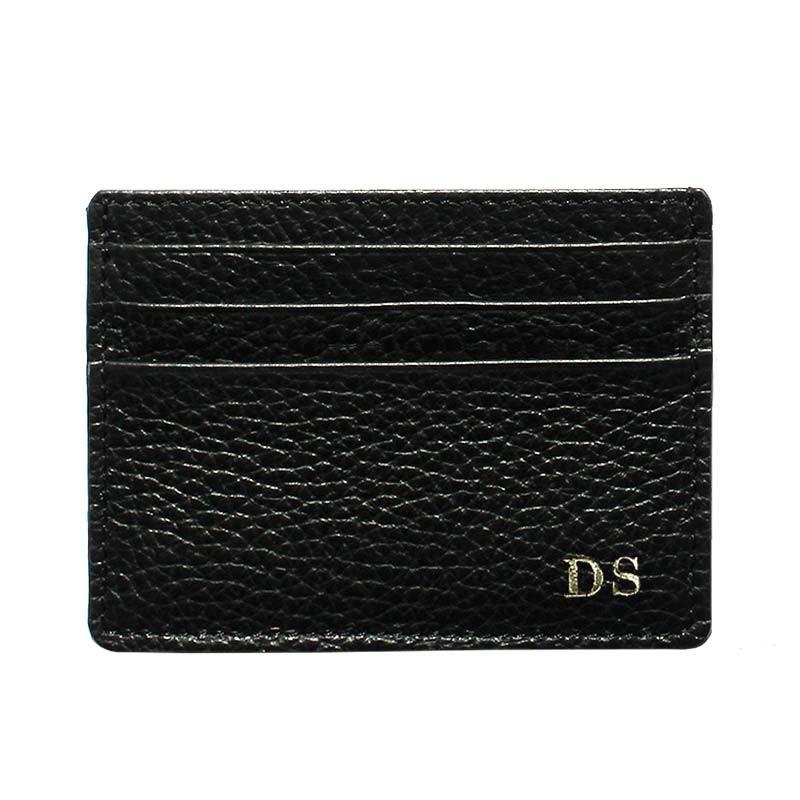Porta carte pelle Corvino, porta carte di credito in pelle bovina colore nero - Conti Borbone - stampatello