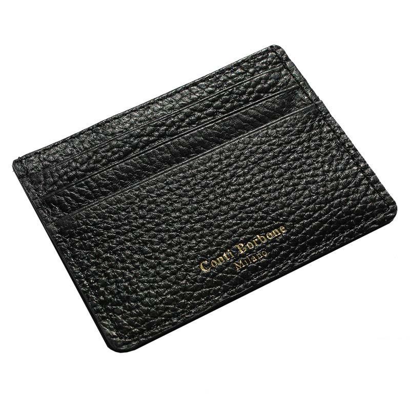 Porta carte pelle Corvino, porta carte di credito in pelle bovina colore nero - Conti Borbone - brand