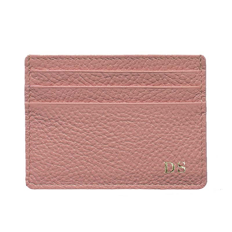 Mauve leather card holder - pink cowhide card cases - Conti Borbone - block letters