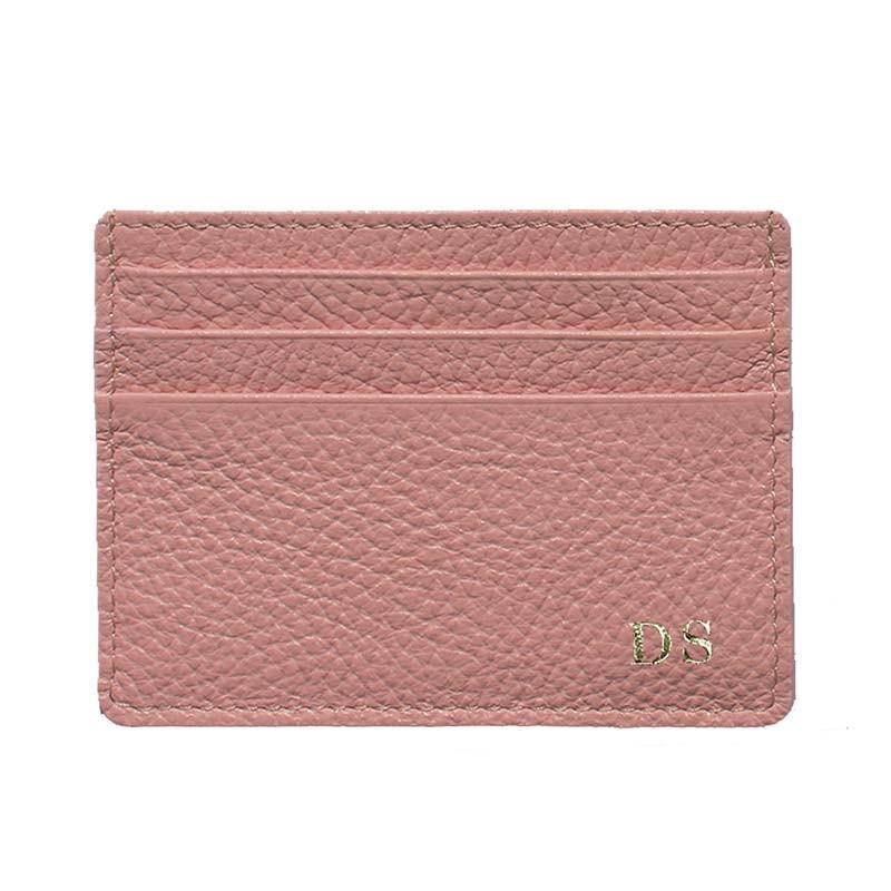 Porta carte pelle Mauve, porta carte di credito in pelle bovina colore rosa - Conti Borbone - stampatello