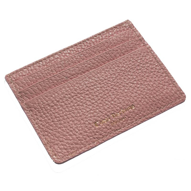 Mauve leather card holder - pink cowhide card cases - Conti Borbone - brand