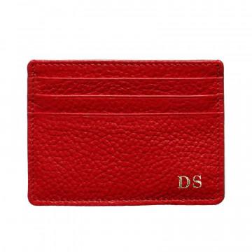 Porta carte pelle Lipstick, porta carte di credito in pelle bovina colore rosso - Conti Borbone - stampatello