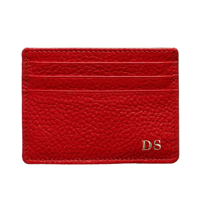 Lipstick leather card holder - red cowhide card cases - Conti Borbone - block letters