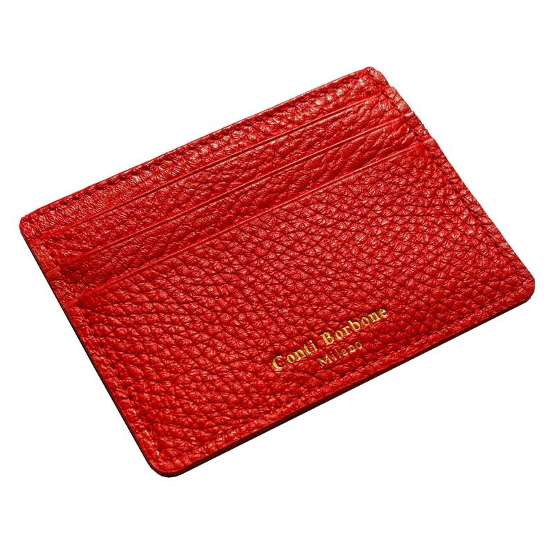 Lipstick leather card holder - red cowhide card cases - Conti Borbone - brand