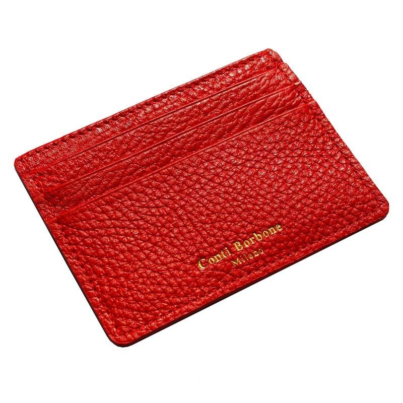 Porta carte pelle Lipstick, porta carte di credito in pelle bovina colore rosso - Conti Borbone - brand