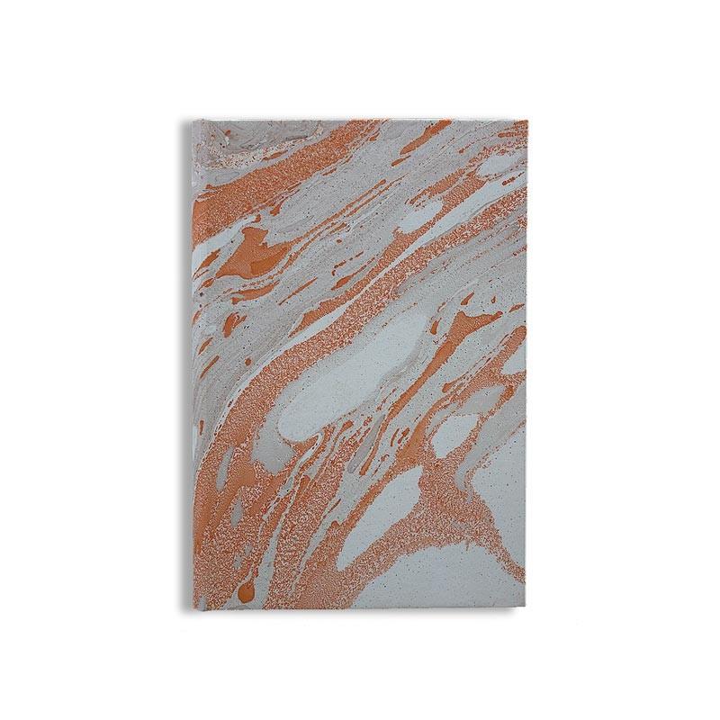 Quaderno in carta marmorizzata a mano arancione grigio marrone Francesca - Conti Borbone - made in Italy